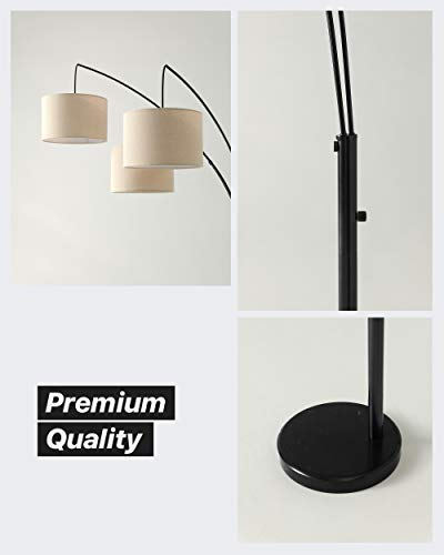 Brightech Trilage Arc Floor Lamp w/ Marble Base -- 3 Lights Hanging Over The Couch from Behind - Multi Head Arching Tree Lamp - for Mid Century, Modern & Contemporary Rooms - Black