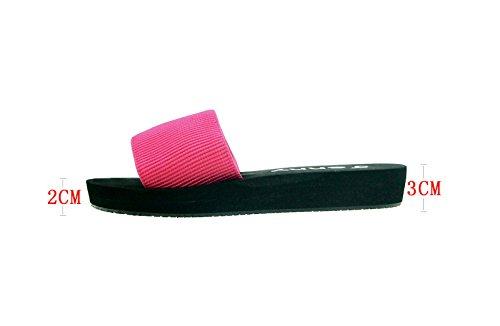 Las mujeres dama verano antideslizantes sandalias Casual zapatillas de casa Zapatillas de baño, rojo rosado, UK 5,5 rojo rosado