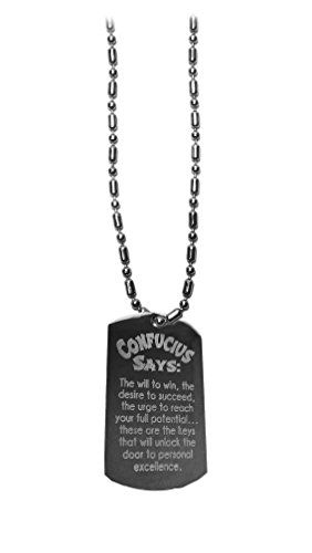 Hat Shark Confucius Will to Win - Luggage Metal Chain Necklace Military Dog Tag - Quote Tag