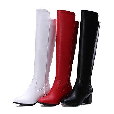 LFNLYX Mujer-Tacón Robusto-Botas a la Moda-Botas-Oficina y Trabajo / Casual-PU-Negro / Rojo / Blanco White