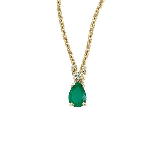 Yellow Gold Emerald Pendant - 14K Yellow Gold Pear Shaped Emerald & Diamond Pendant with 18