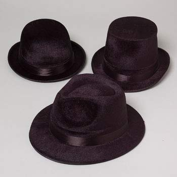 DollarItemDirect HAT Black Flocked 3AST Gangster/ Clown/Tophat W/Satin Ribbon HT, Case Pack of 18 ()