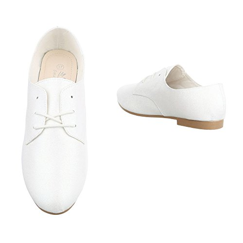 Ital-Design - Zapatos Planos con Cordones Mujer Weiß HS21