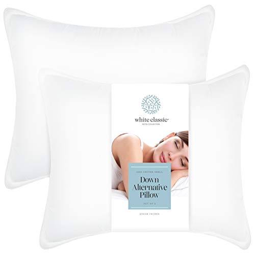 White Classic Down-Alternative Pillows for Sleeping - Luxury Soft Hotel Bed Pillow | Hypoallergenic Dust Mite Resistant | No Flattening | 2 Pack | 20x36 King Size