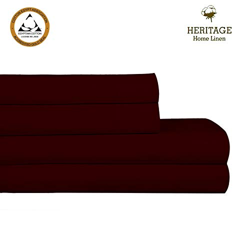 """Heritage Home Linen Queen Luxury Sheet Set 1000 Thread Count 100% Egyptian Cotton Single Ply Long Staple Yarn Solid Sateen Deep Pockets Upto 18"""" fit Fade & Stain Resistant 4 Piece (Queen, Burgundy) ()"""