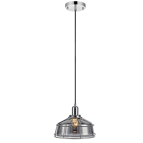 Versanora VN-L00033 Chrome Presenza Metal Mini Pendant Lamp with Cage Finish | 1-Light | Vintage Style | Industrial Design for Modern Kitchens. Living Rooms and Bedrooms