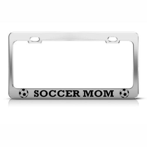 Soccer Mom License Plate Frame Stainless Metal Tag Holder