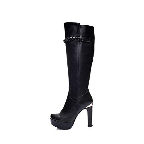 AgooLar Damen Hoch-Spitze Rein Reißverschluss Hoher Absatz Stiefel mit Metallisch, Schwarz, 37
