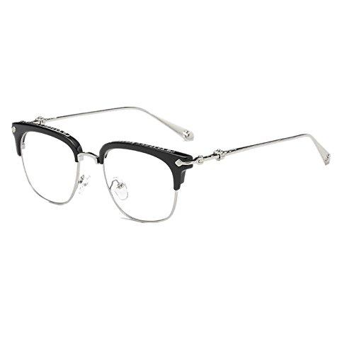 Shiratori Unisex Vintage Classic Metal Glasses Frame With Clear Lenses - Glasses Clear Wayfarer Lens