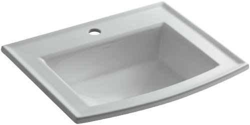 KOHLER K-2356-1-95 Archer Self-Rimming Bathroom Sink with Single-Hole Faucet Drilling, Ice Grey