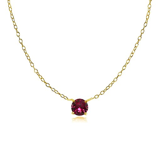 - Yellow Gold Flashed Sterling Silver Small Dainty Round Solitaire Created Ruby Choker Necklace