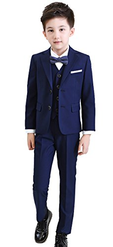 Boys Formal Tuxedo Suits 5 Pieces Jacket+Pants+Vest+Shirt+Bow Tie 3 Colors Black Navy Plaid (12, Navy)
