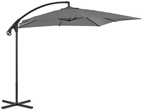 スチールポール250x250cm無煙炭ガーデンパラソル付きカンチレバー傘