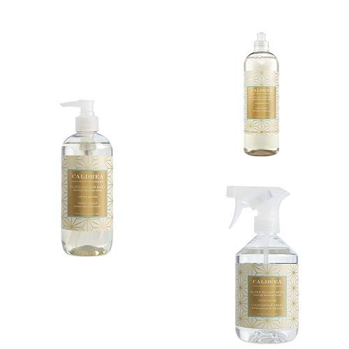 Caldrea Kitchen Set, Gilded Balsam Birch, 3 ct: Dish Soap (16 fl oz), Hand Soap (10.8 fl oz), Countertop Spray (16 fl ()