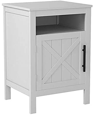 """White Finish Nightstand Side End Table with Door Cabinet and Open Shelf 26"""" H"""