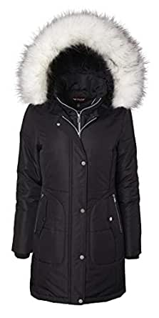 Women's Long Quilted Down Alternative Vestee Puffer Jacket Fur Trim Plush Hood - Black - Small