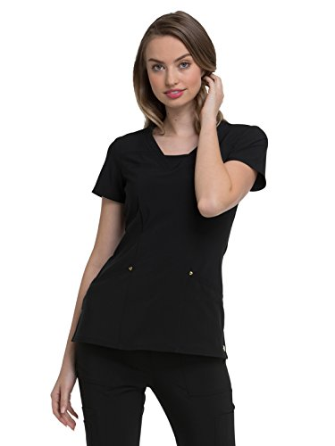 HeartSoul Love Always Women's V-Neck Solid Scrub Top X-Small Black by HeartSoul