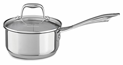KitchenAid KCS15PLLS Stainless Steel 1.5-Quart Saucepan with Lid Cookware - Polished Stainless Steel