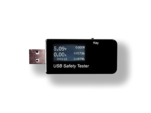 USB Multimeter & Safety Tester - Powerbank/Battery Capacity & Charging Tester (Voltage/Power/Current/Amperage/Wattage/Ah/mAh/Wh) - Incl. micro-USB/mini-USB/USB-C/DC/male/female conversion accessories - Electrical Safety Tester