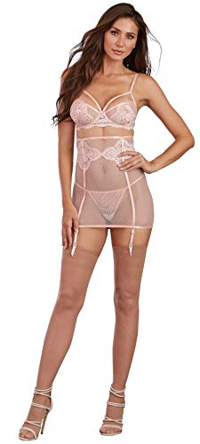 Dreamgirl Women's 3 Piece Set: Fishnet and Lace Bra, Garter Skirt and G-String, Pink Champagne, Large