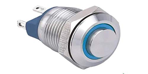 ONPOW Push Button Switch GQ12-AH-10E/J/S,High Round,Ring Illuminated,Momentary; 1NO,12mm;Pin Terminal; Stainless Steel (GQ12-AH-10E/J/R/12V/S(Momentary))