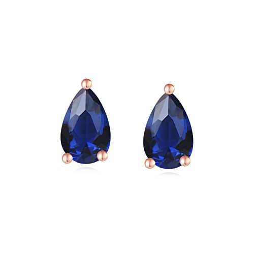 Carleen 18K Rose Gold Plated 925 Sterling Silver Solitaire Pear Cut Blue CZ Cubic Zirconia Simulated Sapphire Teardrop Shaped Dainty Stud Earrings for Women Girls (Sterling Genuine Garnet Box Gift)