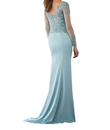 Abendkleider Neu Jugendweihe Charmant Royal Dunkel Blau Langarm Lang Festlichkleider Damen Kleider 2018 Brautmutterkleider Spitze Formalkleider XEwHqC