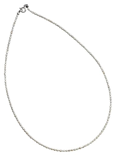 Element Necklace Jewelry Pearl (Elements Silver Womens Plain Freshwater Pearl Necklace - Silver/White)