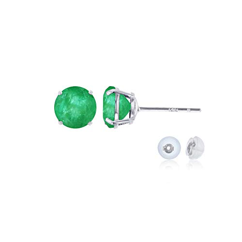 Genuine 14K Solid White Gold 4mm Round Natural Green Emerald May Birthstone Stud Earrings