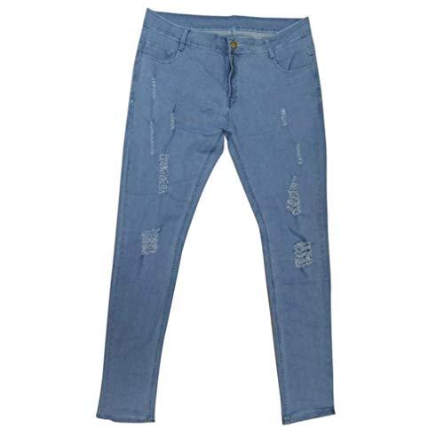 Rt Con Y Stretch Especial Jeans Da Nn Fit Base Di Strappi Pantaloni Skinny Denim Uomo Usati R Look Hellblau Estilo Slim Fori wqSF4gnS