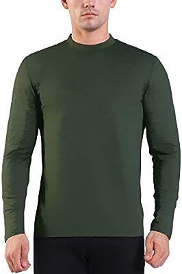 Ogeenier Fleece Camiseta Térmica de Manga Larga con Cuello Alto Hombre Sudadera Cálida: Amazon.es: Deportes y aire libre