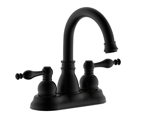 Derengge F-450-JM MT Matte Black Two-Handle Lavatory Bathroom Sink Faucet with Pop up Drain Trim Assembly,Meet cUPC NSF AB1953 Lead Free