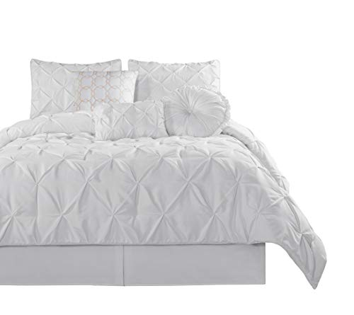 Chezmoi Collection Sydney 7 Piece Pintuck Comforter Set, California King, White - California King Contemporary Bedroom Set