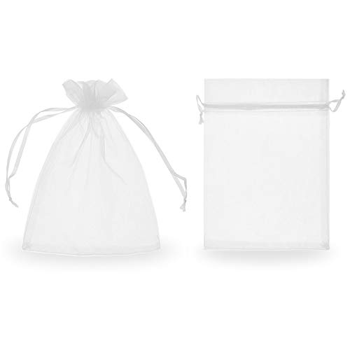 "SumDirect 100Pcs 5.51""x7.48"" Sheer Drawstring Organza Jewelry Pouches Wedding Party Christmas Favor Gift Bags (White)"