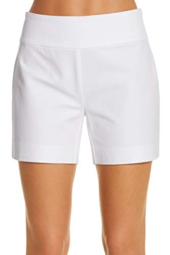 Side Zip Stretch Shorts - Boston Proper Women's Everyday Side Zip Stretch Twill High Rise Five-Inch Short Pure White 6