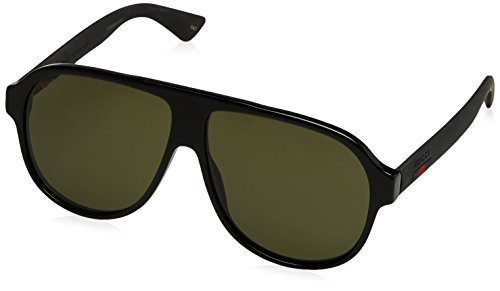 Gucci Urban Oversized Sunglasses, Lens-59 Bridge-11 Temple-145, Black / Green / - Gucci Sunglasses Mens Black