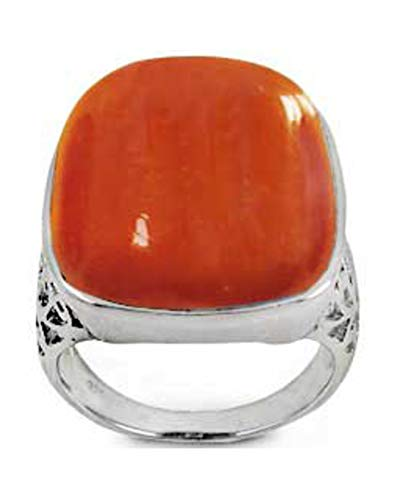 BillyTheTree Gemstone Jewelry Sterling Silver Ring with Octagon Carnelian Stone (BTS-NRB6197/CAR/R) - Size 10.25
