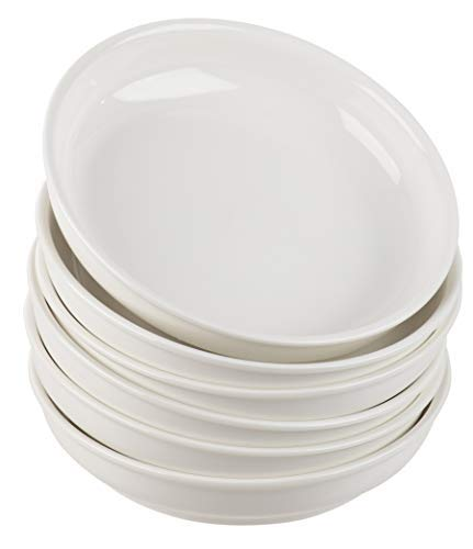 Porcelain Pasta Bowls Set - 6-Piece Wide Shallow 22-Ounce Serving Bowls for Pasta, Side Salad, Soup, Vegetable Serving, Home Kitchen, Restaurant Use, Plain White, 7.9 x 1.6 Inches