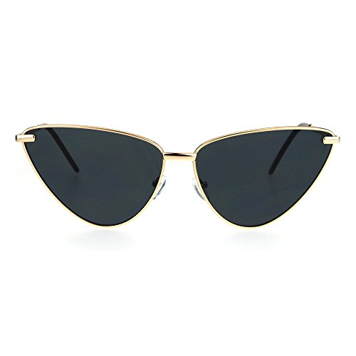 Womens Retro Funk Gothic Unique Cat Eye Metal Rim Sunglasses Gold - Funk Sunglasses