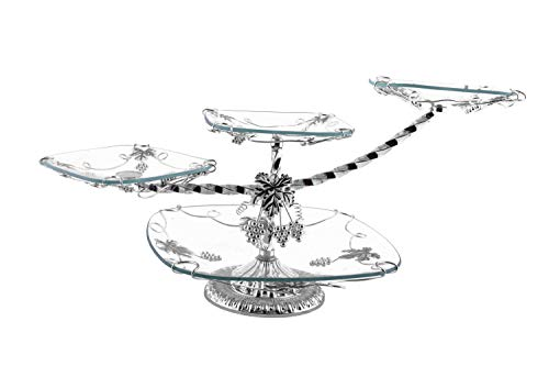 Cake Grape Stand (4 Tier Crystal Glass Serving Platter - Silver- Perfect for Cakes, Desserts and Appetizers Home Decoration (Silver))