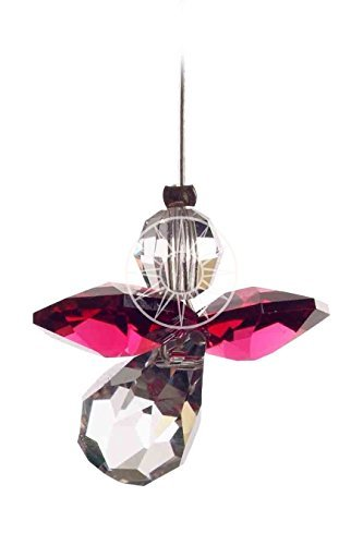 Emblems-Gifts Hanging Crystal Guardian Angel Birthstone Suncatcher - Made Using Swarovski Crystals - JULY - RUBY