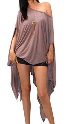 Jaycargogo Des Femmes De L'ourlet Diagonale Batwing Couleur Pure Taille Plus Robe Fourreau Midi 6