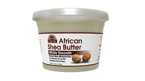 OKAY | African Shea Butter | For All Hair Textures & Skin Types | Daily Moisturizer - Soothe Irritation  | White Smooth Refined  | All Natural | 16 Oz ()