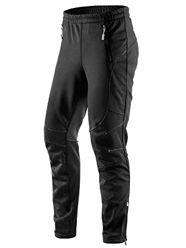 Letook Winter Men's Windproof Thermal Athletic Bike Pants, Soft Fleece Comfortable Warm Trousers for Cycling Running Hiking Outdoor Casual Multi Sports 100232 L