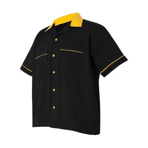 Hilton Retro Legend Bowling Shirt (X-Large, Black/Gold) by Hilton