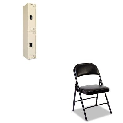KITALEFC96BTNNDTS121836ASD - Value Kit - Tennsco Double Tier Locker (TNNDTS121836ASD) and Best Steel Folding Chair With Padded Back/Seat (ALEFC96B)