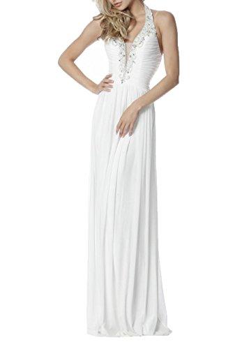 Brautjungfernkleider Weiß Festlichkleider Neckholder Abendkleider Ausschnitt Damen Langes V Charmant Promkleider zxAB1Yq