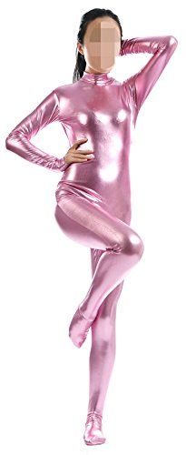 VSVO Women's Metallic Catsuit Dance Wear Spandex Bodysuit (Small, Pink) (Pink Catsuit)