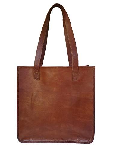 Madosh, Womens Shoulder Tote Bag Genuine Leather Travel Handbag Large Brown Ladies Shoppers Purse (Genuine Goat)