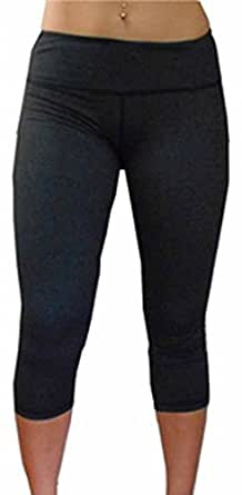 Joyeux Women's Yoga Capri Pants Small Gray